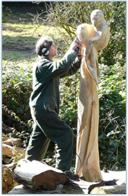 Mendip Hospital Cemetery - Peter Bolton working on a sculpture
